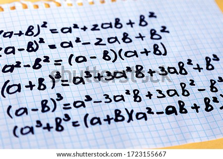 Homeschool. Maths concept. Notepad with math formulas. Study mathematics in quarantine during coronavirus pandemic. Mathematical calculation. Math problems. Arithmetic formula. World Maths Day