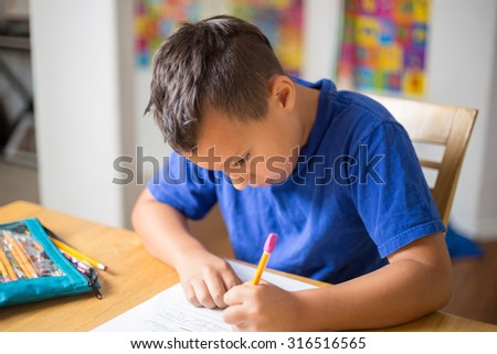 Homeschool student doing homework and learning at home.