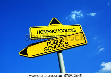 Homeschooling vs Public Schools - Traffic sign with two options - attend educational institution and be educated by teacher vs learn and study at home with parents #570913645
