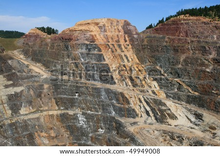 Homestake open pit gold mine in Lead, South Dakota