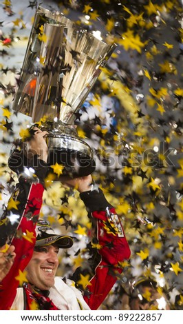 HOMESTEAD, FLORIDA - NOV. 20:  Tony Stewart (14) wins the Ford 400 race and the 2011 Sprint Cup Championship at the Homestead Miami Speedway in Homestead, FL on Nov 20, 2011