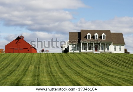 homestead with house, red barn, carriage and landscape - stock photo