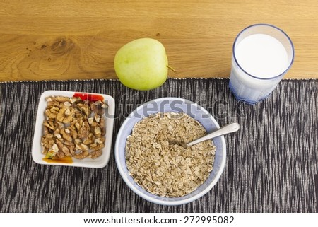 Homework diet breakfast, oatmeal with nuts and milk diet weight loss #272995082