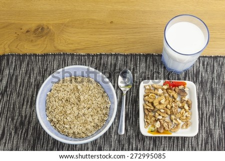Homework diet breakfast, oatmeal with nuts and milk diet weight loss #272995085