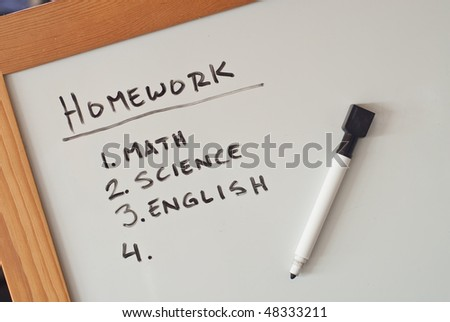 Homework List on Dry Erase Board