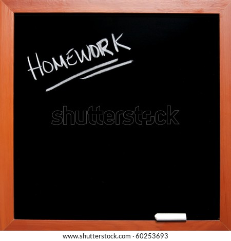 homework written on a chalkboard