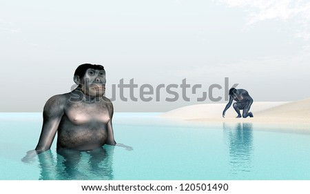 Homo Habilis - Human Evolution Computer generated 3D illustration