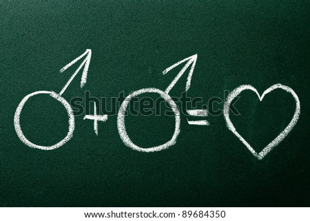 Homosexual couple in love symbols on green blackboard