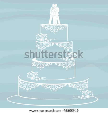homosexual couple standing on top of a wedding cake. Gay/same sex marriage concept.