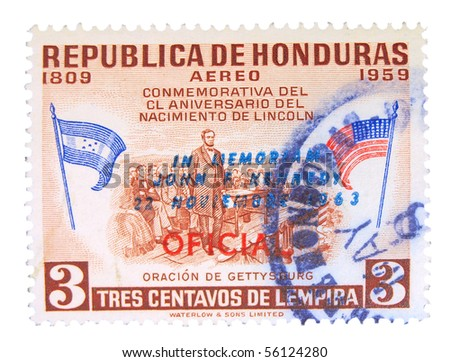 HONDURAS - CIRCA 1959: a stamp printed in Honduras dedicated to 150 years anniversary of Lincoln's birth, circa 1959
