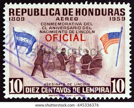 honduras   circa 1959  a stamp...