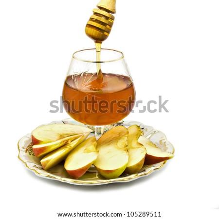 Honey and apple are symbols of Jewish New Year (Rosh hashanah)