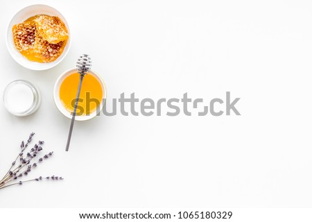 Honey as product for body, face and hair care. Cosmetics with honey. White background top view copy space