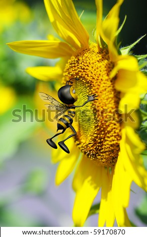 Honey Bee Kissing The Big Yellow Flower Stock Photo 59170870 ...
