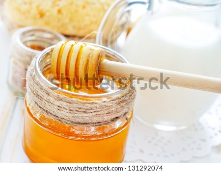 honey,bread and milk - Shutterstock ID 131292074