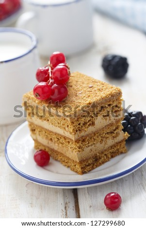 Honey cake with milk and berries