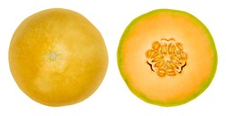 Honey Cantaloupe melon halves, isolated from above. Fresh and ripe fruit of a hybrid melon of the species Cucumis melo, a sweet, aromatic melon with orange fruit flesh and a smooth yellow rind. Photo.