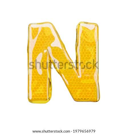Honey comb font letter N. illustration honey alphabet. 3d render  Foto stock ©