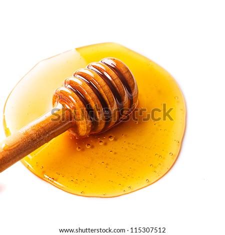 Honey drip isolated on white background