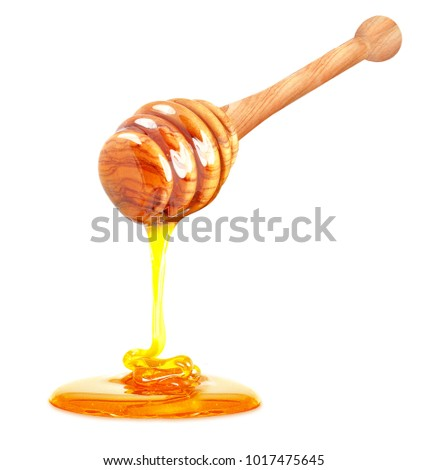 honey dripping isolated on white background