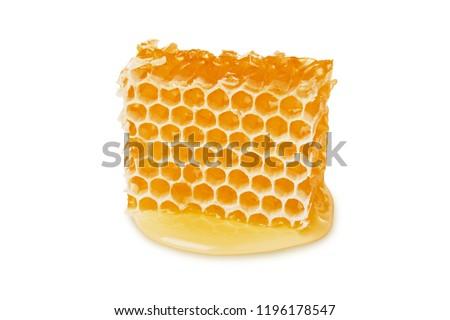 Honey honeycomb piece isolated on white background, close-up, packing design element