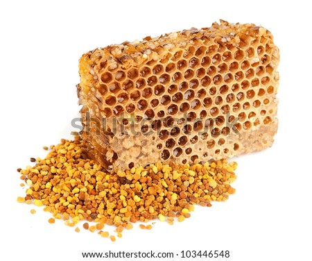 honey honeycombs and pollen on white