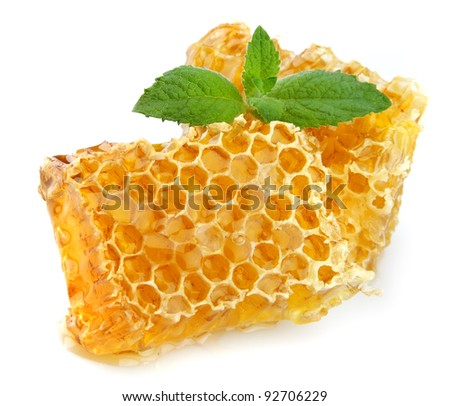 Honey honeycombs with mint close up