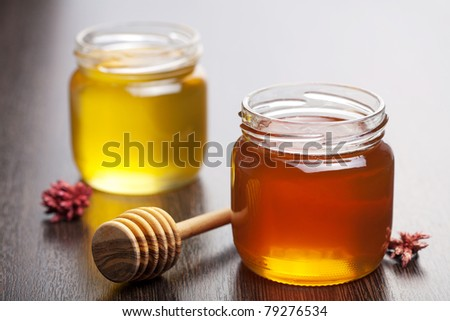 honey in jar - stock photo