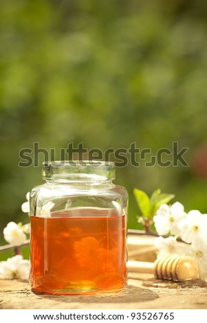 Honey jar, flower and wooden stick on table against spring natural background