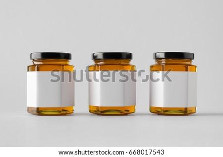 Honey Jar Mock-Up - Three Jars. Blank Label #668017543