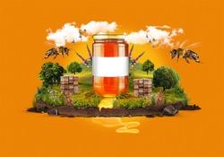 Honey jar nature manipulation advertising. Concept design template. Natural honey.