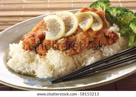 Honey lemon fish and broccoli on rice part of a series of for Rice dishes with fish