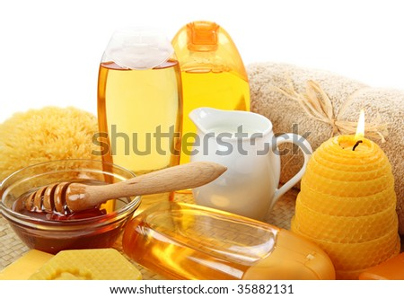 Honey spa isolated on white background