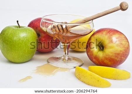 honey with apple for Rosh Hashana  jewish new year