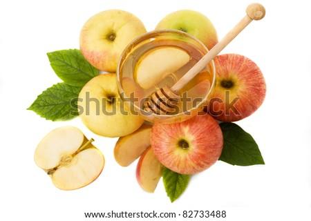honey with apple for Rosh Hashanah – jewish new year