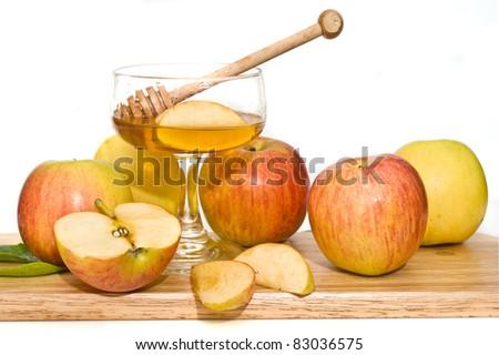 honey with  ripe  fresh apple for Rosh Hashana – jewish new year