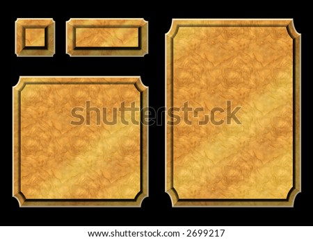 Honey wood plaques / awards ready for your text on black background