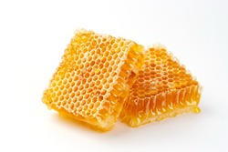 Honeycomb isolated on white background, healthy products by organic natural ingredients concept