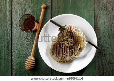 honeycomb on white dish