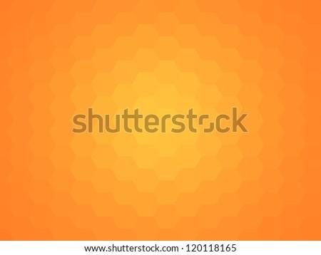 Honeycomb or beeswax hexagonal orange background.