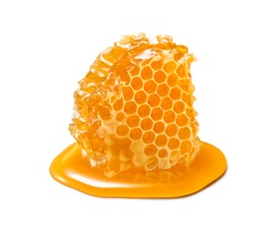 Honeycomb piece. Honey slice isolated on white background. Package design element
