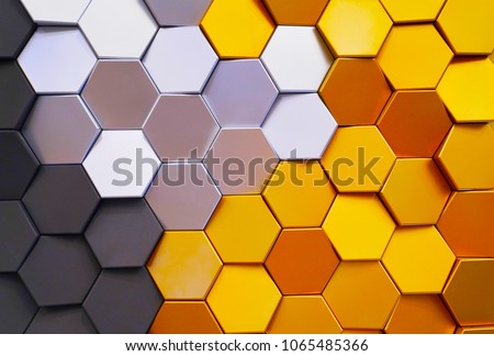 Honeycomb shape colorful decorative ceramic tiles on wall