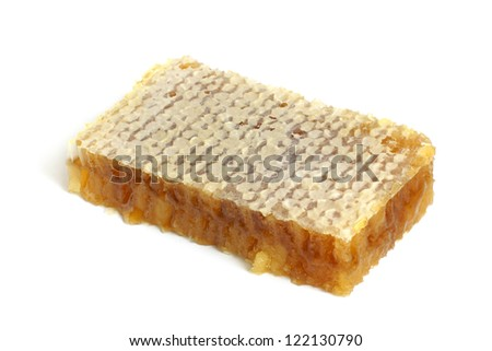 Honeycombs with honey on a white background