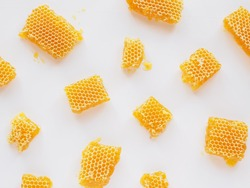Honeycombs with natural healthy bees wax texture. Top view