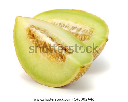 Honeydew melon on a white background