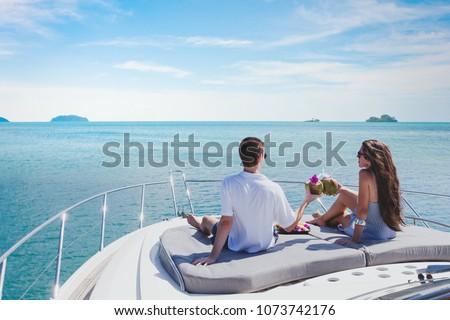 honeymoon getaway on luxury yacht, luxurious lifestyle and travel, romantic holidays for couple Stockfoto ©