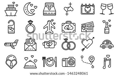Honeymoon icons set. Outline set of honeymoon icons for web design isolated on white background