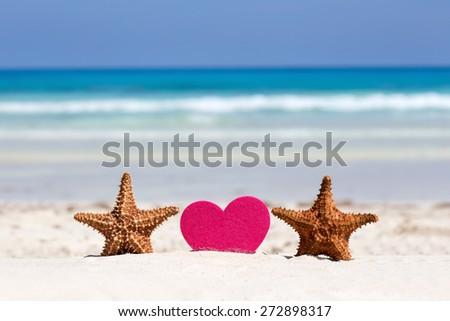 Honeymoon on caribbean beach, travel concept