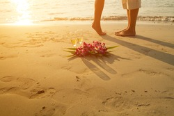 honeymoon, wedding couple on the beach - with place for the text