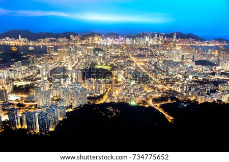 Hong Kong and Kowloon by night as seen from Lion Rock